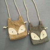 棉麻狐狸造型側背包小包包 側背包 兒童小包包