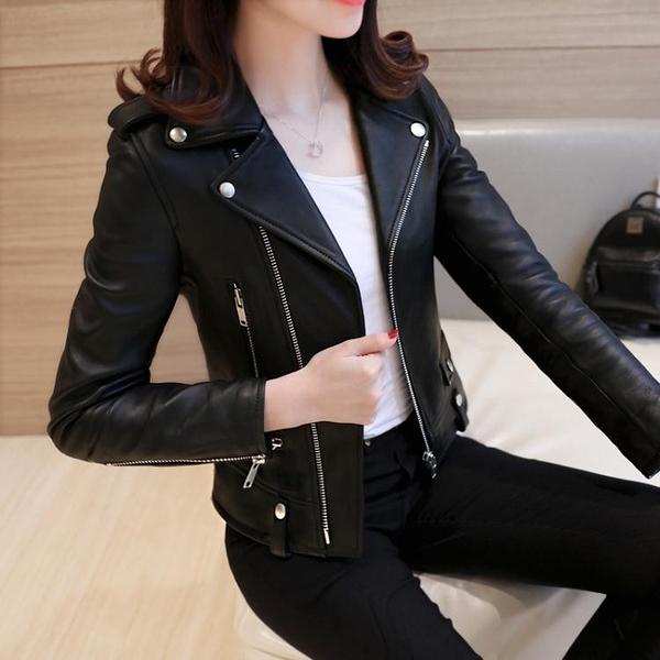 皮衣 皮衣女短款外套春秋2021冬季新款韓版修身黑色機車皮夾克 伊蘿 99免運