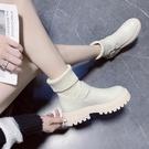 短靴 秋冬馬丁靴米色低幫女鞋33碼厚底加絨保暖針織毛線白色短靴41 晶彩 99免運