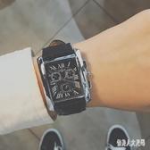 男士手錶男方形皮帶石英錶學生韓版簡約潮流休閒防水潮流錶 yu5264『俏美人大尺碼』