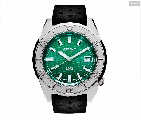 [Y21潮流精品直播] 新品上市! Squale 1521 Polished Case Emerald Dial Rubber Strap Black 瑞士機械表