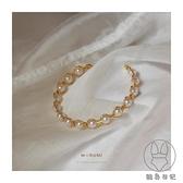 原創設計高級簡約氣質珍珠手鐲女18K金手鏈女【貼身日記】
