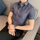 夏季薄款短袖襯衫男韓版超修身條紋發型師白色襯衣男士休閒半袖潮『潮流世家』