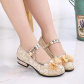 童鞋女童單鞋中大童女孩公主鞋軟底小高跟皮鞋款防滑   居家物語