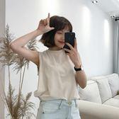 夏季2018新款韓版寬鬆ulzzang百搭無袖T恤復古簡約純色外穿背心女   夢曼森居家