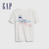 Gap男童童趣風格印花圓領短袖T恤573665-亮白色