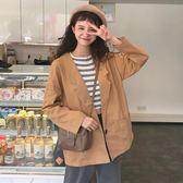 秋裝女裝韓版寬鬆百搭中長款薄款學生休閒開衫長袖夾克上衣外套潮 韓慕精品