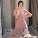 法式桔梗新款氣質女神范仙女裙中長款超仙中國風旗袍洋裝子 檸檬衣舍
