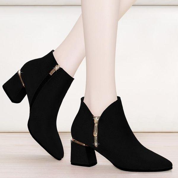 單鞋女粗跟高跟鞋2018新款秋冬季時尚深口中跟女鞋歐美尖頭小皮鞋 挪威森林