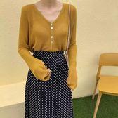 針織開衫韓版夏季女裝V領純色長袖防曬外套女薄款寬松顯瘦空調衫