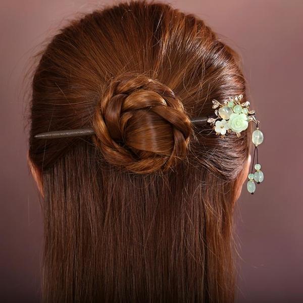 古風流蘇髪簪頭飾髪釵森系髪簪子古典風步搖飾品仙美髪飾木漢服女 髪插