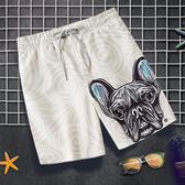 沙灘褲情侶男速干寬鬆短褲狗狗大褲衩女海邊度假3D印花溫泉泳褲潮