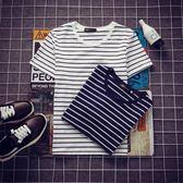 條紋T恤夏季男士黑白條紋修身短袖T恤學生韓版圓領半袖衣服男裝潮流t體恤 曼莎時尚