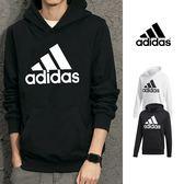 【GT】Adidas 黑白 連帽T恤 長袖 運動 休閒 棉質 帽衫 愛迪達 基本款 Logo