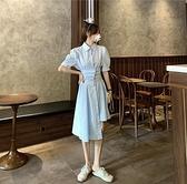 襯衫洋裝 女夏裝新款復古洋氣收腰顯瘦泡泡袖中長款裙子法式襯衫連衣裙 - 風尚3C