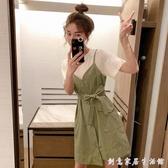 小個子吊帶裙套裝女夏2020韓版新款超仙白t恤背帶洋裝兩件套潮 聖誕節免運