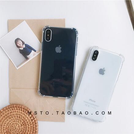 【SZ25】iphoneX手機殼 簡約透明四角防摔 全包防摔軟殼 iPhone8手機殼
