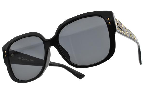Dior 太陽眼鏡 LADY DIOR STUDS F 8072K (黑-灰鏡片) 歐美時尚造型款 墨鏡 #金橘眼鏡
