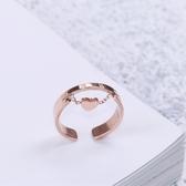 戒指 保色鈦鋼玫瑰金可愛桃心羅馬數雙層戒指時尚食指戒學生指環潮J041 尾牙