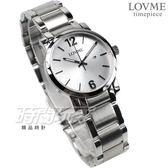 LOVME 簡約數字風格品味 藍寶石抗磨水晶玻璃 不銹鋼帶 女錶 銀色 日期顯示窗 VS3190L-2S-221