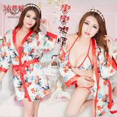 日式睡衣和服 戀戀櫻情!魅惑深V和服式浴袍三件組 角色扮演服 情趣睡衣 女衣【531013】