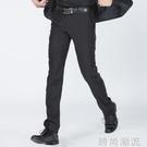 男士春季西褲修身韓版直筒商務正裝上班夏季薄款黑色免燙西裝褲子