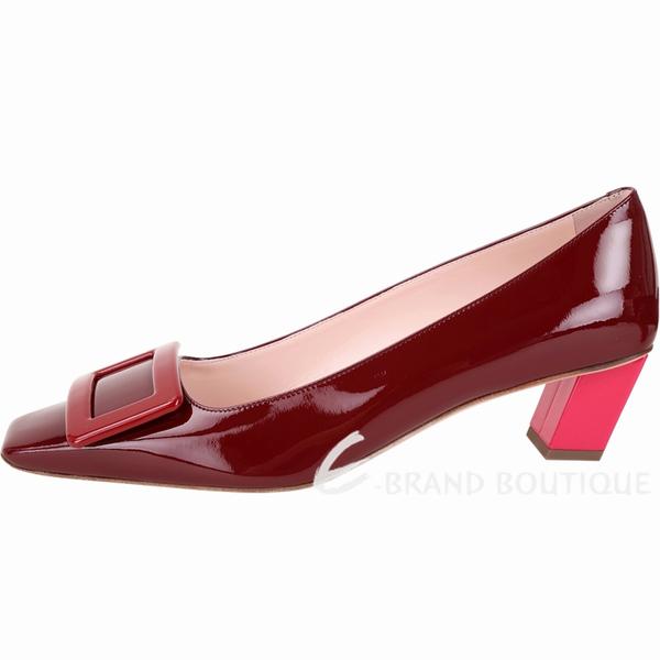 Roger Vivier Belle 配色漆皮高跟方釦鞋(波爾多紅) 1930282-A8