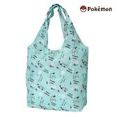 【SAS】日本限定 寶可夢 皮卡丘家族 伊布 小花英字滿版 折疊收納式 購物袋/環保袋 /手提袋 (綠色)
