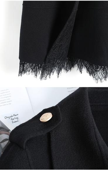 (現貨+預購 RN-girls)-精品蕾絲拼接羊毛毛呢外套