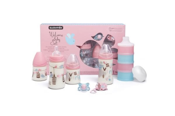 Suavinex 寶寶禮盒 (含奶瓶,安撫奶嘴,奶嘴掛鍊、粉盒) 粉色