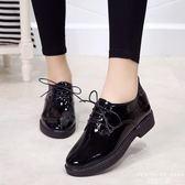 牛津鞋 小皮鞋英倫休閒低跟韓版漆皮系帶簡約