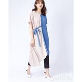 daMIIM拼接綁結造型洋裝-二色-藕粉-莫蘭迪