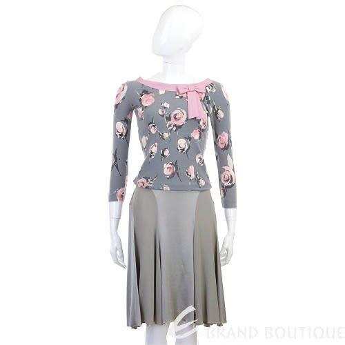 BLUMARINE 灰色絲質及膝裙 0510386-06