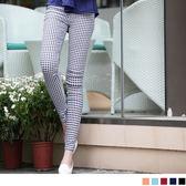 OB嚴選《BA0936-》話題指標~細方格紋鬆緊彈力窄管褲‧5色--適 XS~XL