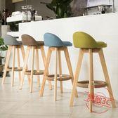 實木吧檯椅酒吧椅復古美式吧椅現代簡約高腳凳jy前檯旋轉吧凳咖啡椅【無敵3C旗艦店】