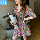 【V9271】shiny藍格子-微夏復古.小碎花收腰V領短袖連身裙