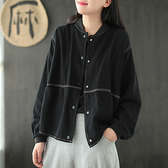 純棉斜紋棒球服 立領蝙蝠袖外套 復古寬鬆純色夾克/2色-夢想家-0806