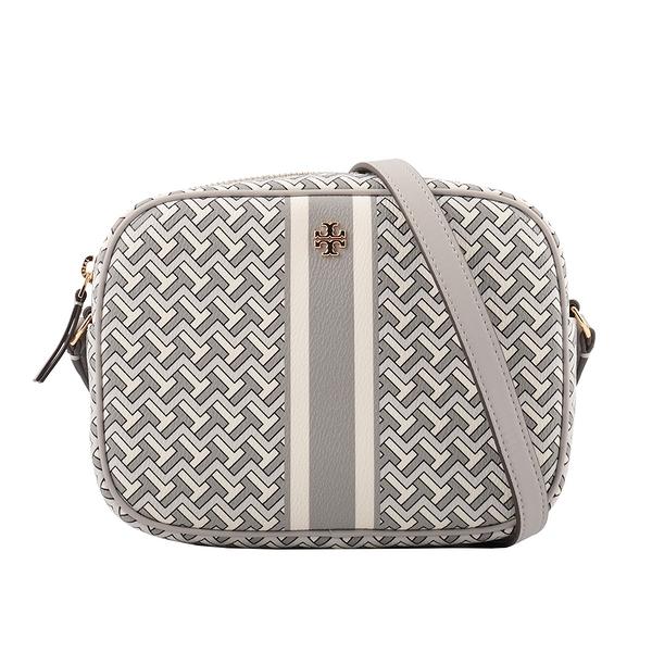 【TORY BURCH】PVC皮革條紋拼幾何圖案相機包(灰色) 64280 FRENCH GRAY