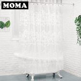 默瑪EVA浴簾防水加厚防霉衛生間浴簾浴簾布隔斷簾淋浴簾白色花蔓