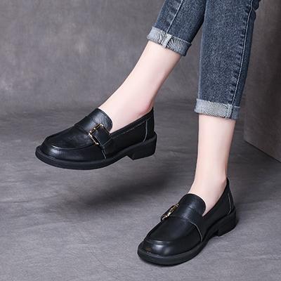 真皮手工女鞋 套腳平底鞋 英倫風休閒鞋/2色-夢想家-標準碼-0401