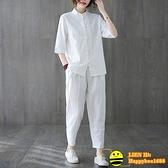 兩件式棉麻褲裝 夏季中國風復古中式唐裝盤扣上衣棉麻禪意茶藝服禪修居士服套裝女【happybee】