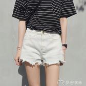 新款白色牛仔短褲女夏chic百搭高腰寬鬆顯瘦學生韓版a字熱褲     麥吉良品