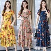 連身裙短袖雪紡2019夏天流行長款女人味氣質印花長裙子『艾麗花園』
