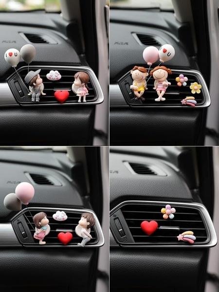 汽車擺件 車載香水空調出風口掛件汽車可愛卡通持久淡香薰韓國創意情侶擺件 夢藝家