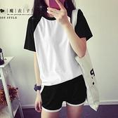 【QV937】魔衣子-拼接圓領短袖T恤+鬆緊腰短褲套裝