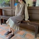 毛衣馬甲套裝春寬鬆設計感長款襯衫裙女兩件套針織時尚洋裝秋冬 聖誕節全館免運