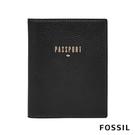 FOSSIL 燙金LOGO真皮時尚RFID旅行護照夾-黑色 SL7431001