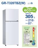 東芝 TOSHIBA 305公升超靜音一級變頻電冰箱 白GR-T320TBZ(W)