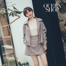 Queen Shop【01084856】簡約素色毛呢短版上衣後鬆緊腰短裙套裝*現+預*