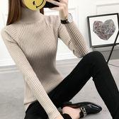 秋冬新品短款女高領毛衣打底衫長袖套頭加厚修身白色緊身針織冬